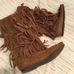 Brown fringe calf high boots